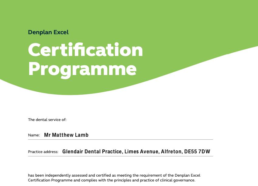 Denplan Excel Certification Programme